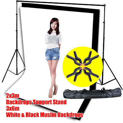 Photography Studio 3x6m Muslin Black White Backdrop w/Video Background Stand Kit