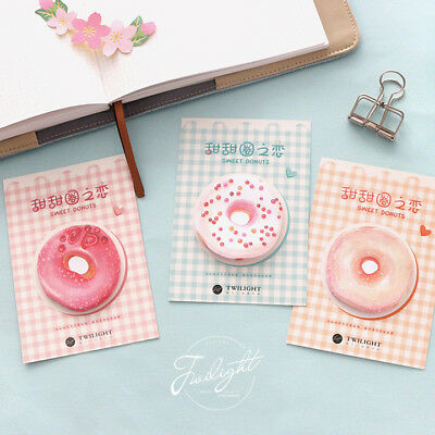 """""""Sweet Donuts"""" Pack of 4 Cute Sticky Notes Stickers Post It Study Adhesive Pads"""