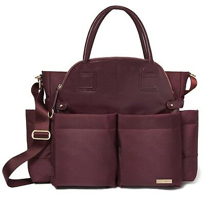 Skip Hop Chelsea Downtown Chic Baby Diaper Satchel ~~ Wine ~~ Brand New !!!