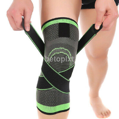 3D Elastic Pressure Knee Support Joint Pain Relief Brace Pad Basketball Sport FR