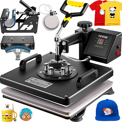 "5 in 1 Heat Press Machine 15""X15"" Transfer Sublimation T-Shirt Cap Swing-away"