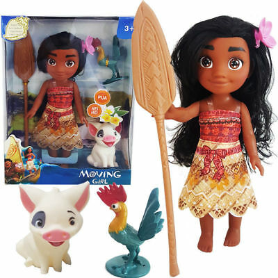 Disney Princess Moana Adventure Young Moana Pua Hei Hei Action Figures  Girl Toy