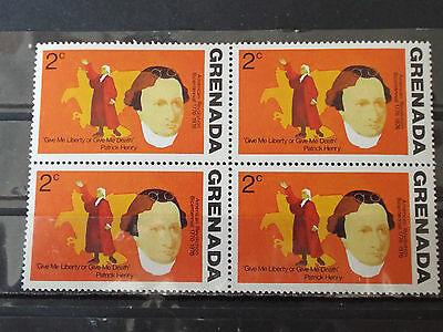 Bloc 4 timbres neuf Grenada : Patrick Henry, give me Liberty or give me Death