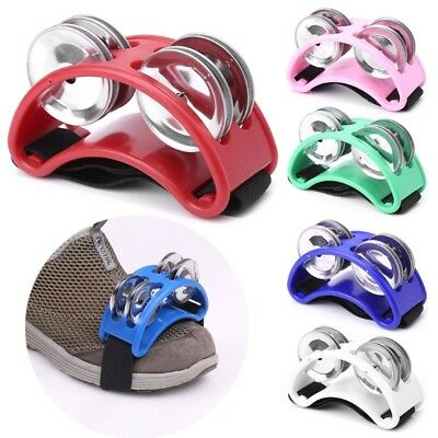 Foot Tambourine Percussion Instrument 2 Sets Metal Jingle Bell