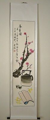 Chinese Calligraphy Scroll Painting Tea Art with Plum 茶藝圖 USA seller