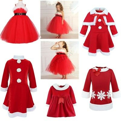 Toddler Baby Girls Christmas Santa Claus Dress Outfits+Hat Costume Xmas Clothes