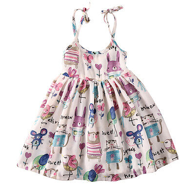 Cartoon Graffiti Toddler Baby Girl Princess Dress Summer Party Dress Size 1-6 Y