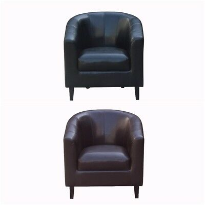 Tub Chair  Faux Leather PU  JHI Tub Chair With Extra Detail Stitching