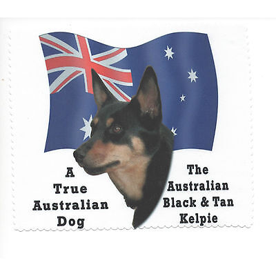 Australian Kelpie Black Tan Flag Glasses cleaning cloth Sunglasses Single sided