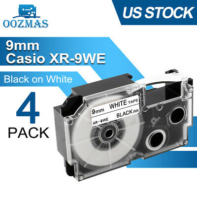 2PK BLACK on WHITE Compatible for Casio Tape XR-9WE 9mm Label XR-9WE1 EZ-Serial