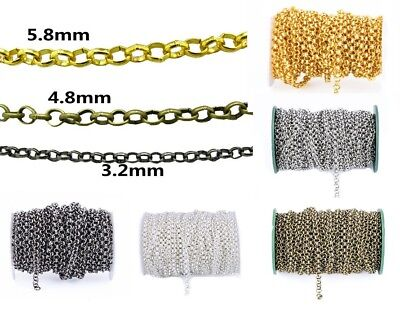 1/5m Jewellery Making O-Shape Chains Bracelet Necklace DIY 3.2mm/4.8mm/5.8mm