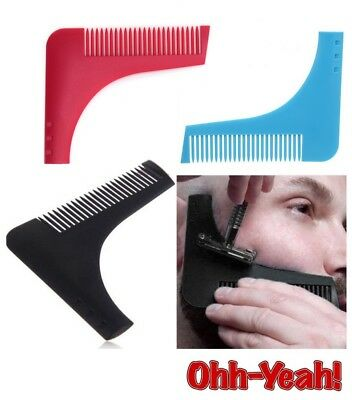 Beard Facial Hair Shaping Tool Brush Comb Grooming Line Trim Styling Moustache