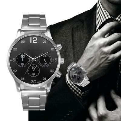 Luxury Men's Crystal Stainless Steel Band Casual Analog Quartz Wrist Watch