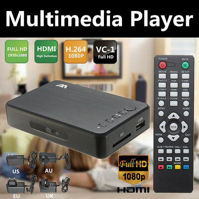 Mini Full 1080P HD Multi Media Player TV BOX 3 Outputs HDMI/VGA/AV USB & SD Card