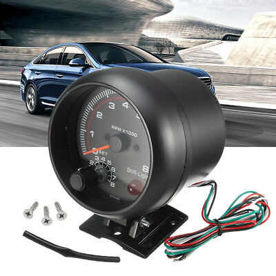 12v Universal 3.75'' Car Tachometer Tacho Gauge Meter 0-8000 RPM W/  Shift Light
