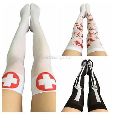Womens Girls Long Socks Over Knee Thigh High Stockings Halloween Stocks Decor