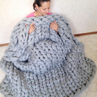 Hand Knitted Warm Chunky Blankets Soft Thick Yarn Merino Wool Bulky Throw Gifts
