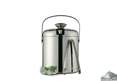 NEW Stainless steel Double Wall Layered Ice bucket,Wine Cooler with Lid and Tong