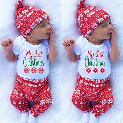 My First Christmas Girl Boy Newborn Baby Romper Outfit Long Pant HatClothes Set