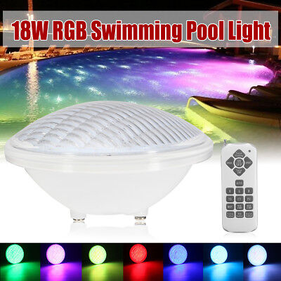 AC 12V 18W Swimming Pool Glow Remote LED Underwater Lights Party RGB 7 Colors