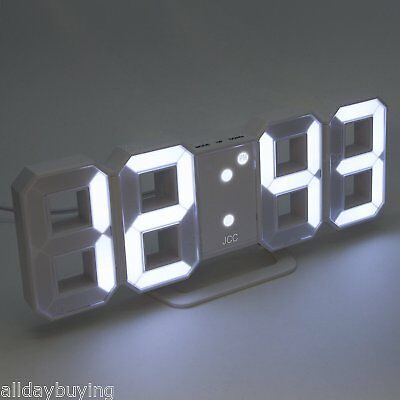 White LED Digital Numbers Wall Clock with 3 levels Brightness Alarm Snooze Clock