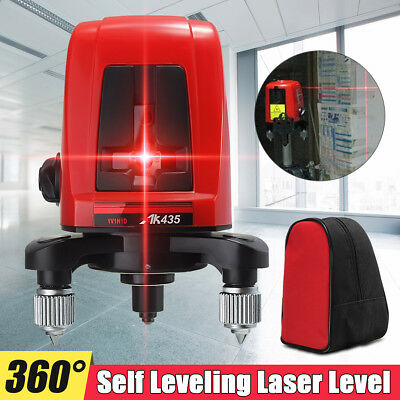 AK435 360 Degree Self-leveling Cross Laser Level Red 2 Line 1 Point Tripod + Bag