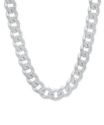 "8mm Silver Mens Curb Chain Necklace Sterling 925 18 20 22 24"" Inch Womens Unisex"