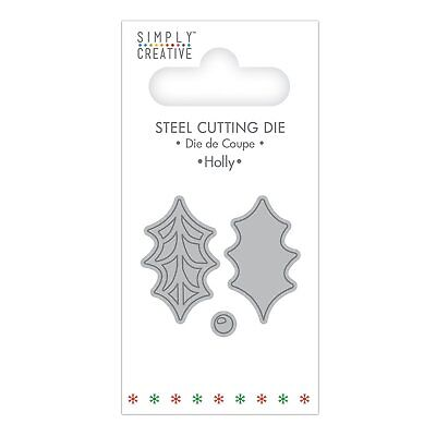 Simply Creative Christmas Mini Steel Cutting Die - Holly Set of 3
