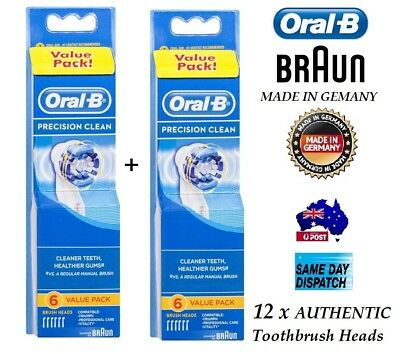 12 x  ORAL B PRECISION CLEAN BRAUN NEW ORAL-B TOOTHBRUSH HEADS AUTHENTIC