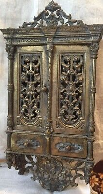 "Antique Wall Box Cabinet Bronze With Cabinet Drawers 12"" High Gold Color Nice!"