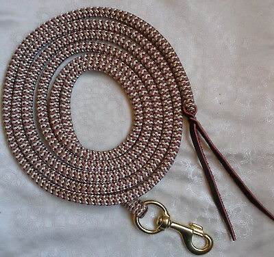 8ft (2.4m) Lead Rope in Brown/Beige w 32mm Brass Trigger Snap- Natural Equipment