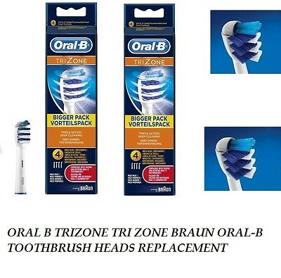 8 x ORAL B TRIZONE TRI ZONE BRAUN ORAL-B TOOTHBRUSH HEADS REPLACEMENT 2 x 4pack