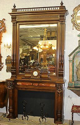 Antique Louis XVI Walnut French Fireplace Mantle Carved Lions w/ Original Clock