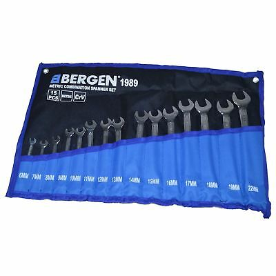 15pc Metric MM Combination Spanner Spanners Wrench Set 6mm to 22mm Bergen