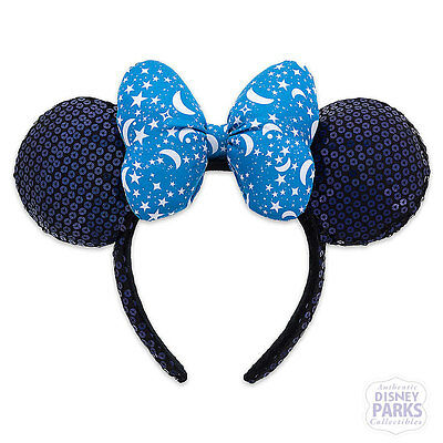 Disney Parks Blue Minnie Mouse Ear Blue Sequined Ears Headband Stars Moons Sky