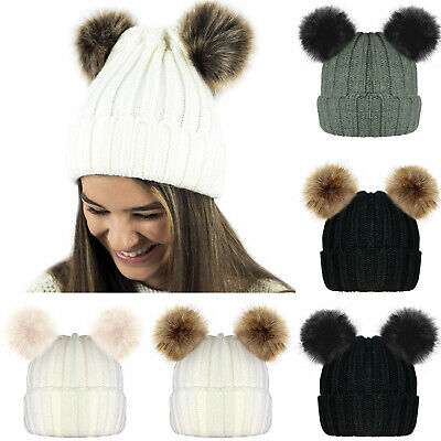 Ladies Womens Girls Winter Chunky Knitted Beanie Bobble Hat Twin Faux Fur Pompom
