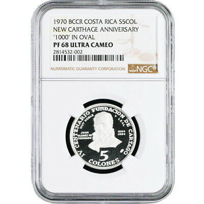 "Costa Rica 5 Colones Silver Coin ""1000"" in OVAL New Variety NGC PF 68 KM# 191"