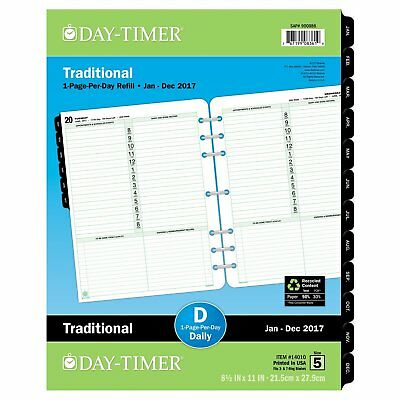 Daytimer Daily Planner Refill 2017 One Page Per Day Traditional 81/2 X 11""