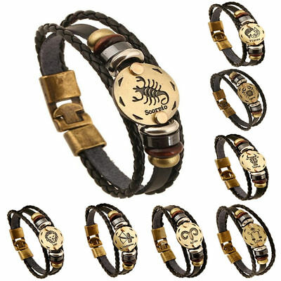 Unisex 12 Constellation Zodiac Round Pendant Leather Bangle Bracelet Handmade
