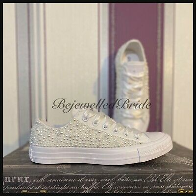Wedding Converse All White, with white Pearls and crystals, all sizes available
