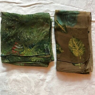 2 Vintage Scarves Green Brown Burmel Hand Rolled 100% Silk Ann Taylor Scarf Lot