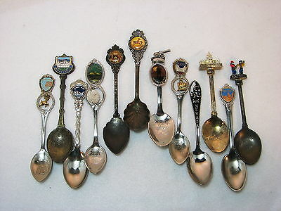 Collectible Spoon 12 Mixed Lot Enamel Charm Figural Rodeo Drive thru Tree Cannon