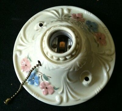 Vintage PORCELIER Art Deco Porcelain Ceiling Wall Light Fixture Ivory Floral
