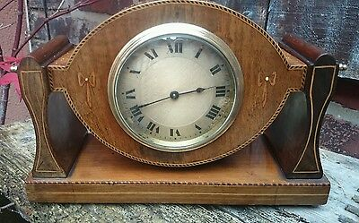 Antique Swiss Buren Inlaid Mahogany 8 Swivel Mantel Clock Gwo