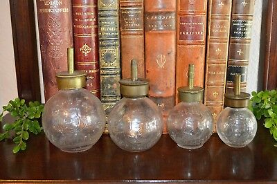 Rare Antique Set of 4 French Glass Bottle Oil Grease Lubricators A Michaux Paris