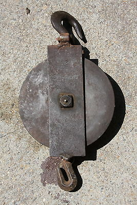 Antique Huge 35lb Industrial Steampunk Cast Iron Pulley #9