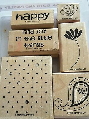 Stampin' Up *POLKA DOTS AND PAISLEY* 6pc Mounted Rubber Stamp . Retired.