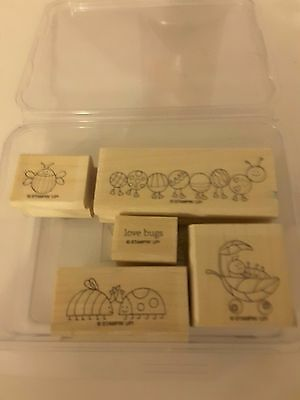 Stampin' Up *LOVE BUG ,* 5pc Mounted Rubber Stamp Set . Retired. EUC.