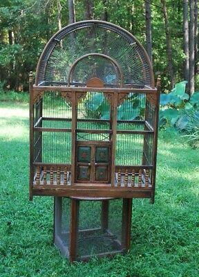 Large Vintage Wood & Wire Rustic Domed Bird Cage Victorian Style