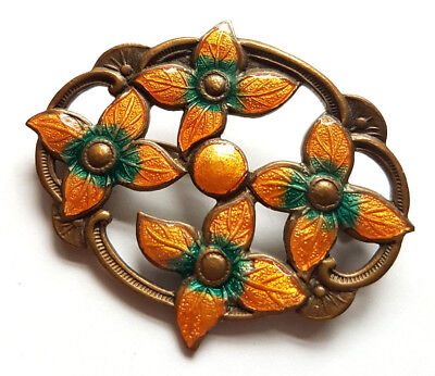 Vintage Art Nouveau Guilloche Enamel Flower Brooch Pin